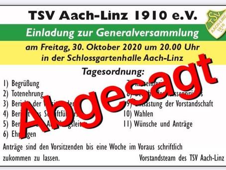 Absage Generalversammlung