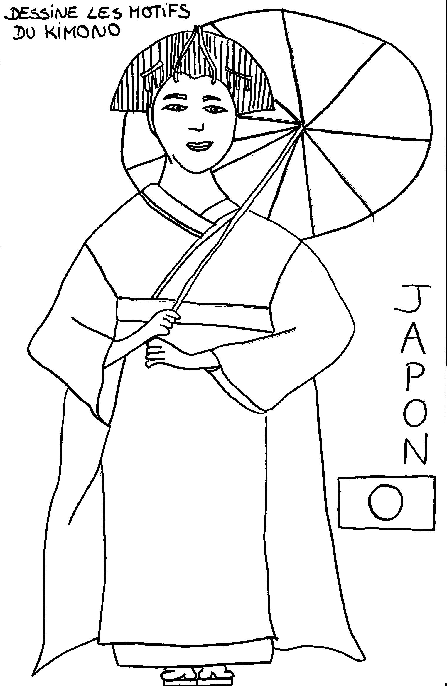Coloriage_japon_kimono