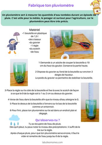 Les petits scientifiques : le pluviomètre