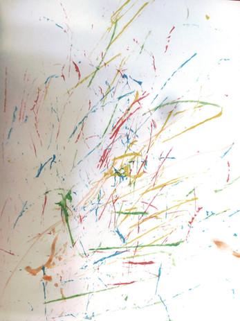 peinture à la ficelle en s'inspirant de Pollock
