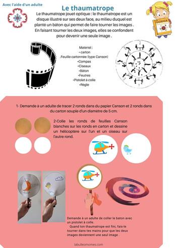 Les petits scientifiques: le thaumatrope