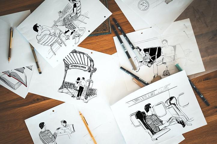 RELAY mockup dessins illustrations