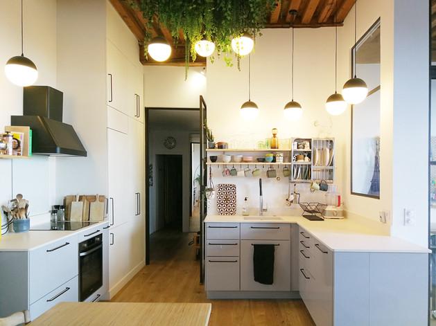 architecture interieure architecte décoratrice décoration Lyon valentine  canut cuisine ikea la redoute plantes lampe