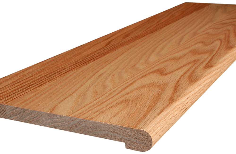 Image of laminate bull nosings in a light brown or maple colour. Bull nosing pictured has a very round edge