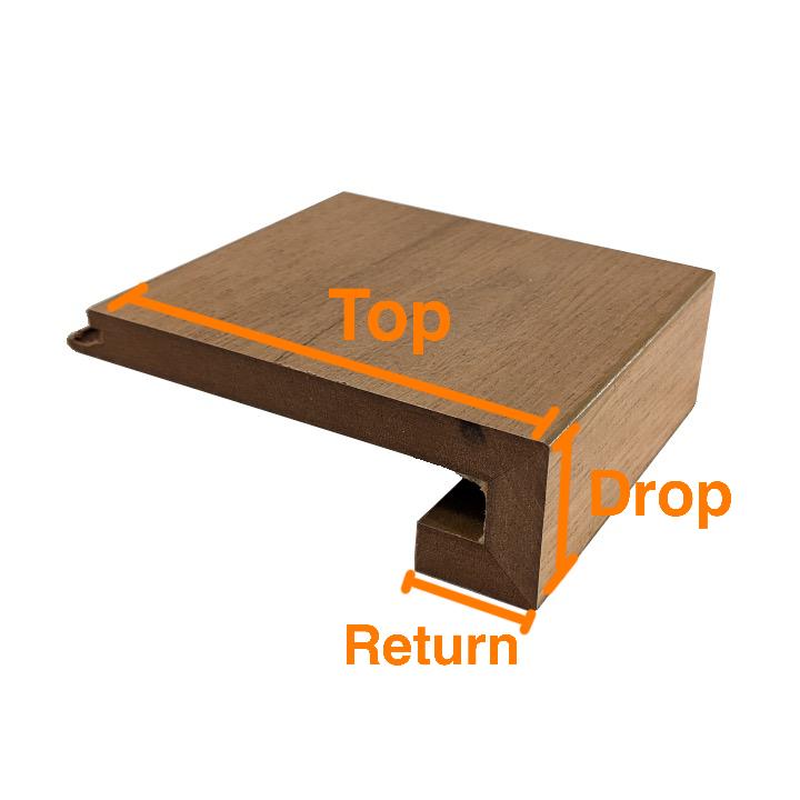 Laminate stair nosing diagram showing top drop and return