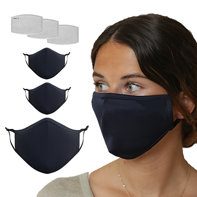 3 Pack Navy Blue Mask with 9 Filters