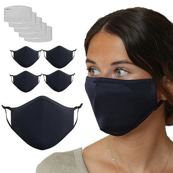 5 Pack Navy Blue Mask with 15 Filters
