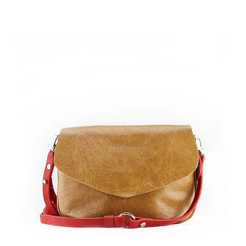 Alice. Sandy beige leather cross body purse