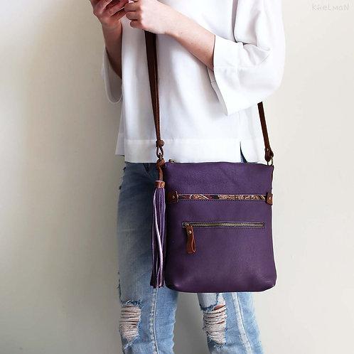 Somerset. Purple leather crossbody bag