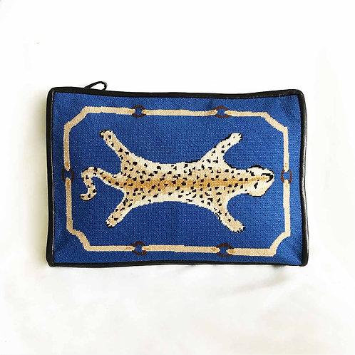 Blue needlepoint clutch