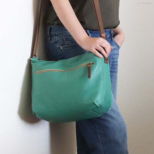 Marley. Malachite green leather crossbody bag