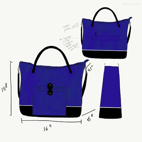 Custom Tiberis bag in blue, black, and white