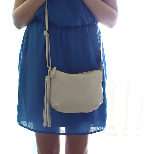 The size of the Borla off white leather cross body bag