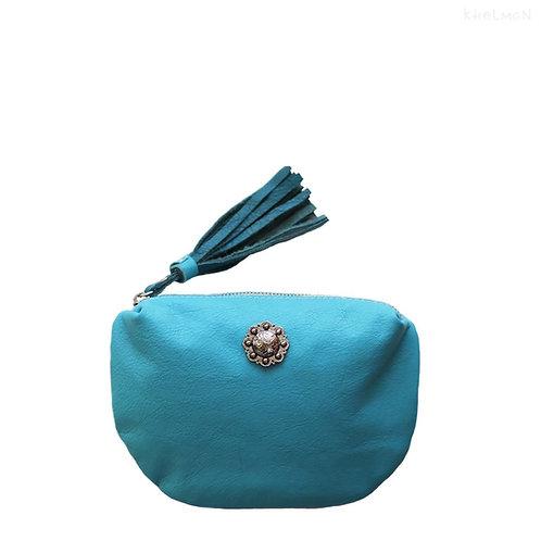 Turquoise leather purse Nola by Khelman