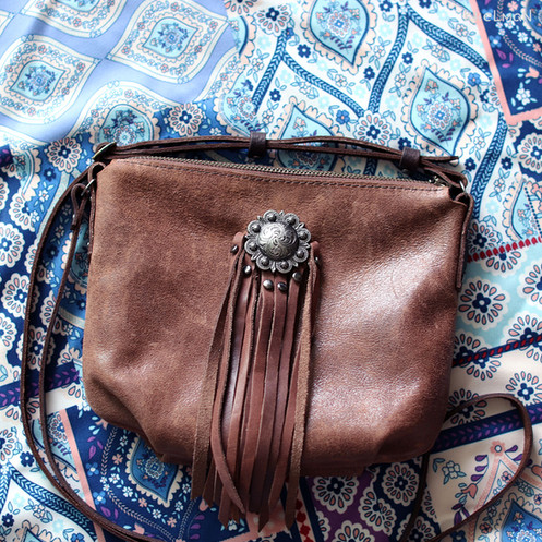bb6060e9c7 Borla Fringe Flower. Brown leather & lilac blossom