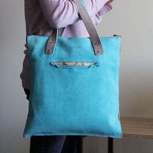 Valencia tote bag is made of genuine turquoise leather