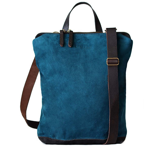 Genuine teal blue suede convertible backpack Cameron by Khelman