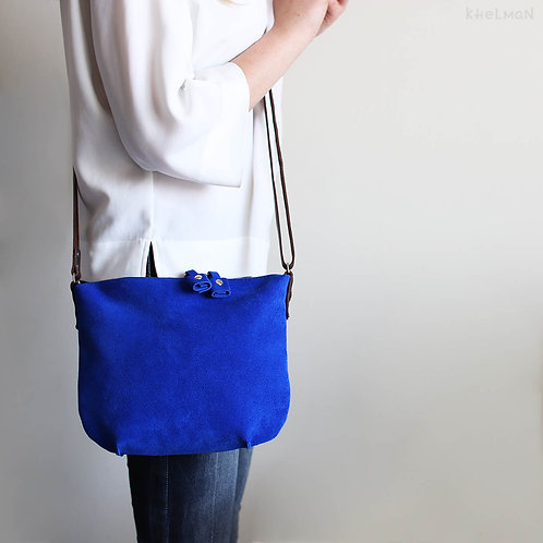 The size of Minami blue suede crossbody bag by Khelman