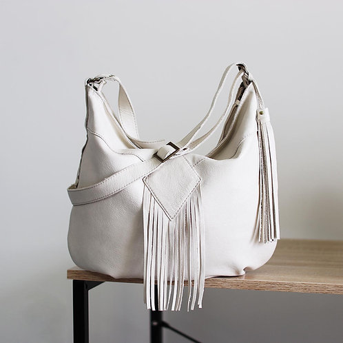 Demilune. Antique white leather hobo bag