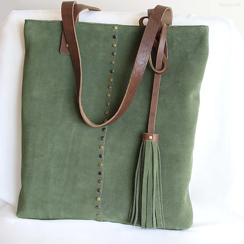 Francesca. Moss green suede shopper bag