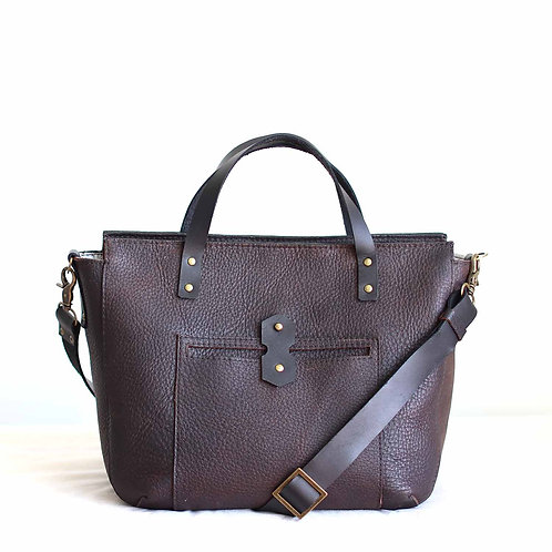 Tiberis M. Rustic brown crossbody leather tote