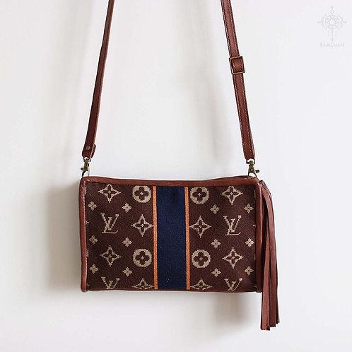 Custom needlepoint leather purse