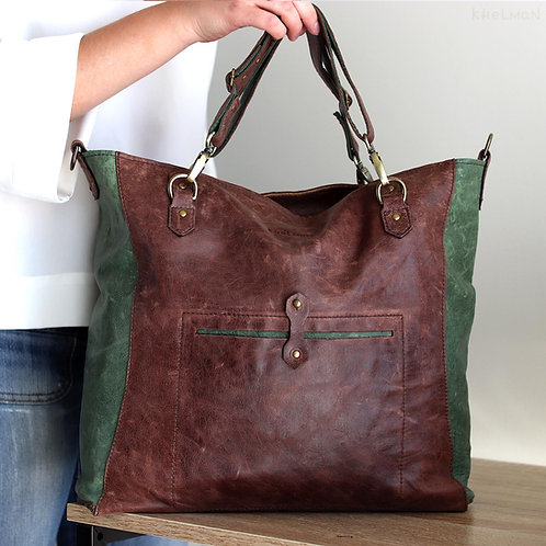 Brown leather custom tote bag Gideon with detachable handles