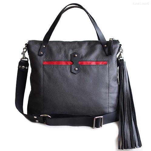 Austin charcoal gray leather crossbody bag by Khelman