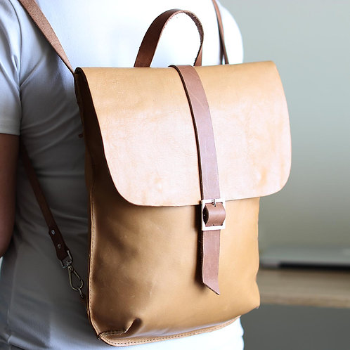 The size of Haruko camel leather convertible backpack by Khelman