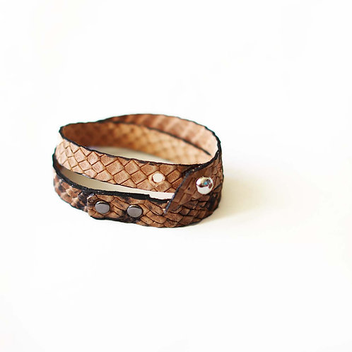 Embossed genuine leather bracelet