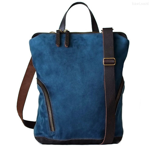 Cameron. Teal blue suede convertible backpack