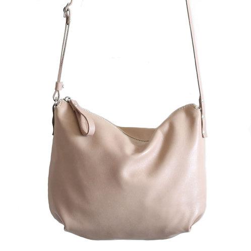 Borla capuchino beige leather crossbody bag purse by Khelman