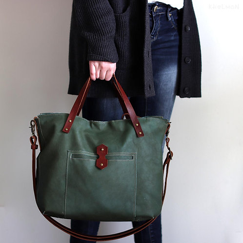 Green leather cross body tote bag Tiberis by Khelman