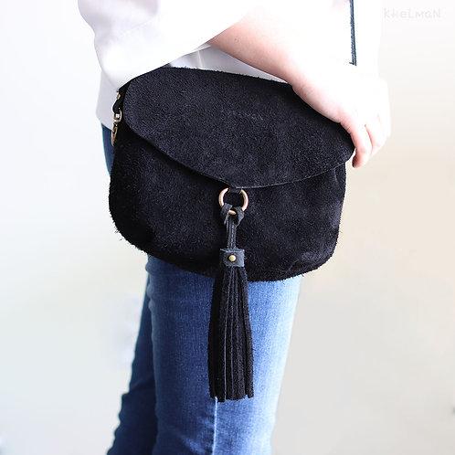 Alice. Black suede crossbody purse