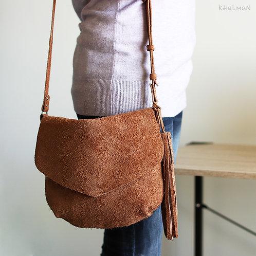 Sophie. Tan suede crossbody handbag