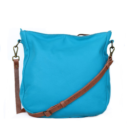 Turquoise Leather Cross Body Bag Ulrica By Khelman
