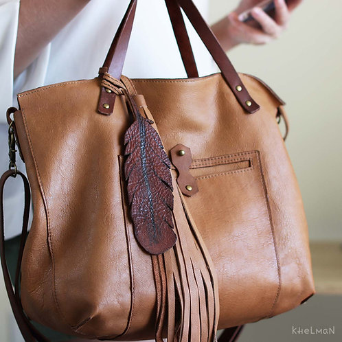 Custom Tiberis Feather & Tassel. Crossbody tan leather tote