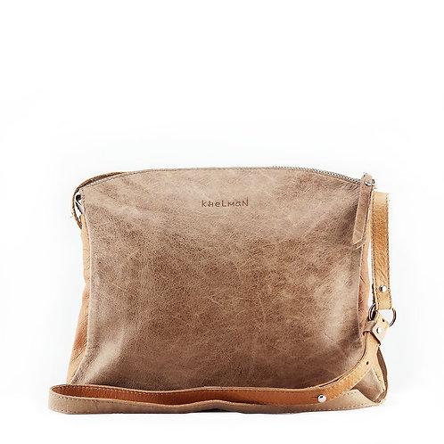 Taupe genuine leather crossbody bag Blake by Khelman