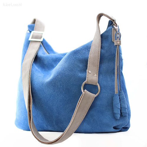 Soho blue suede crossbody bag front view