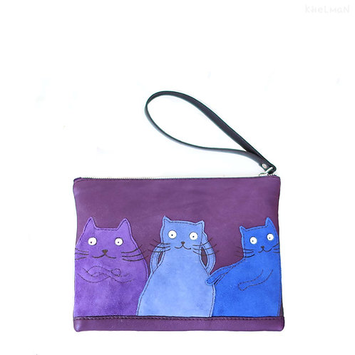 Suede Cats. Leather clutch