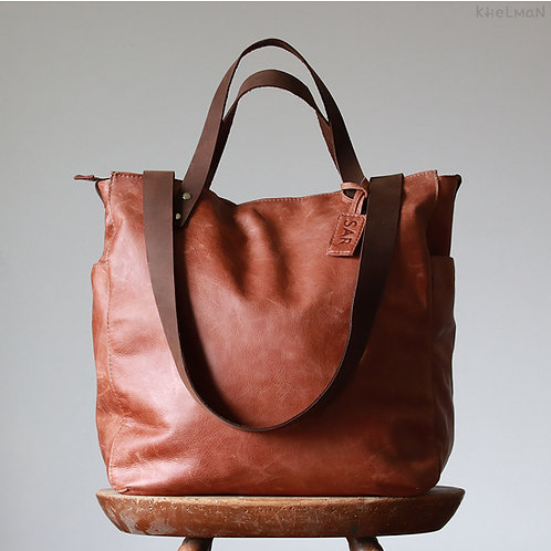 Phoenix. Copper leather convertible tote/backpack