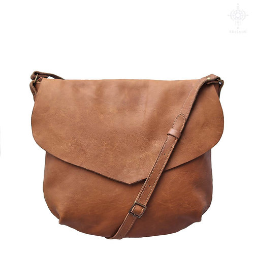 Sophie. Patina Tan leather crossbody bag