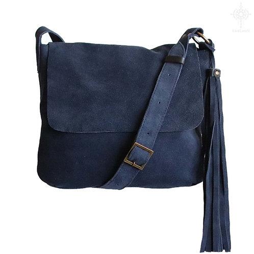 Fargo. Midnight blue suede crossbody bag