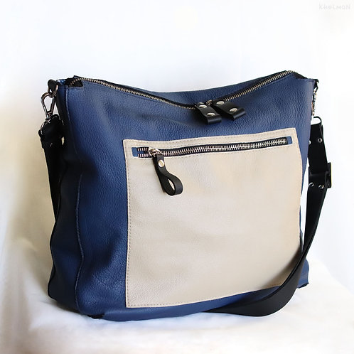 Solaris. Denim Blue leather crossbody bag