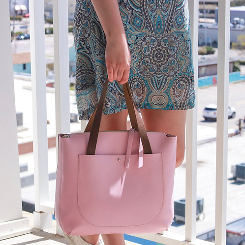 Solaris. Blush Pink leather tote