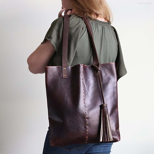 Francesca. Cordovan red leather tote bag