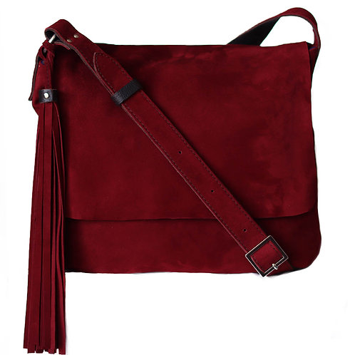 Fargo M&L size. Berry wine suede handbag