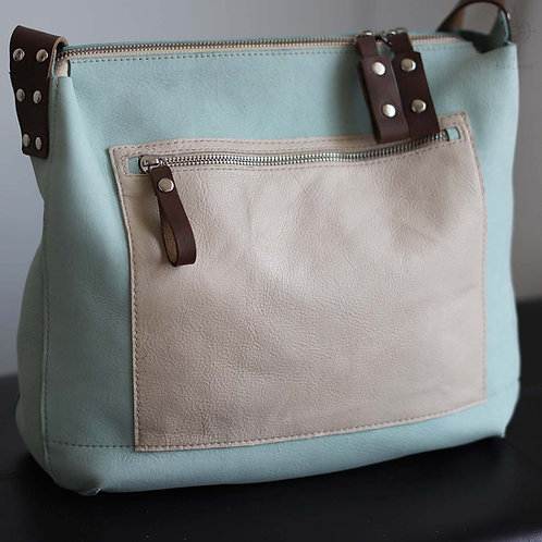 Solaris. Light turquoise leather crossbody bag
