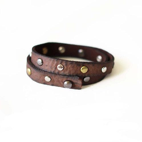 Brown nubuck leather wrap bracelet by Khelman