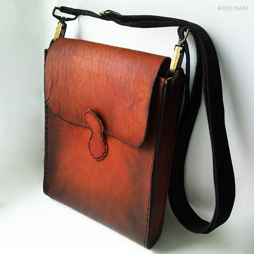 Sol unisex red brown veg tanned leather cross body bag